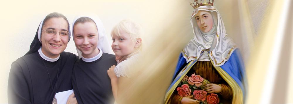 obrazek dwóch sióstr elżbietanek z dzieckiem i świętą Elżbietą